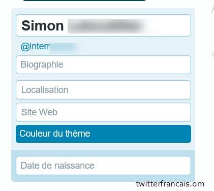 Ajouter votre nom, email, site web dans twitter