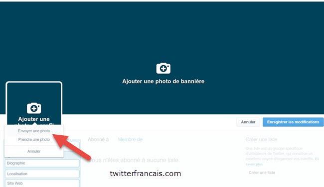 COnfiguration du profil Twitter