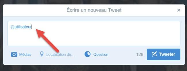 envoyer une mention à l'utilisateur Twitter