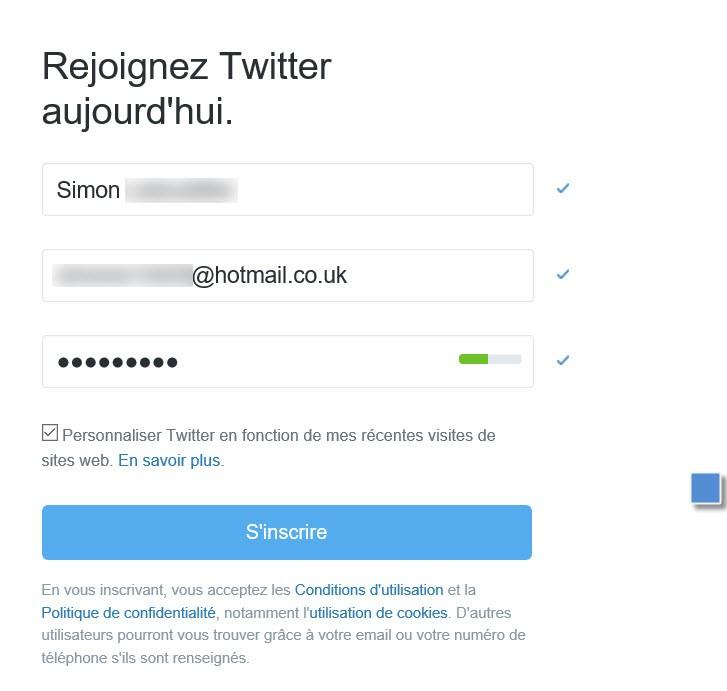 Inscription twitter étape 2