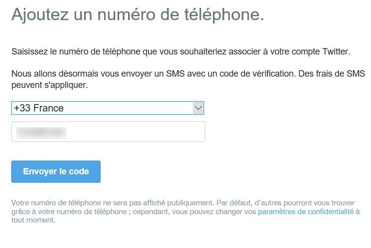Associé un numéro de téléphone