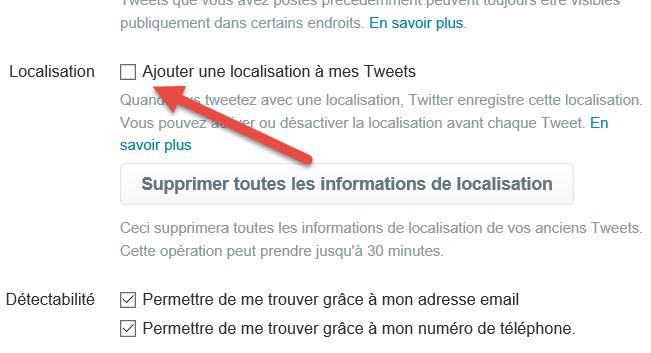 Activer la localisation des tweets