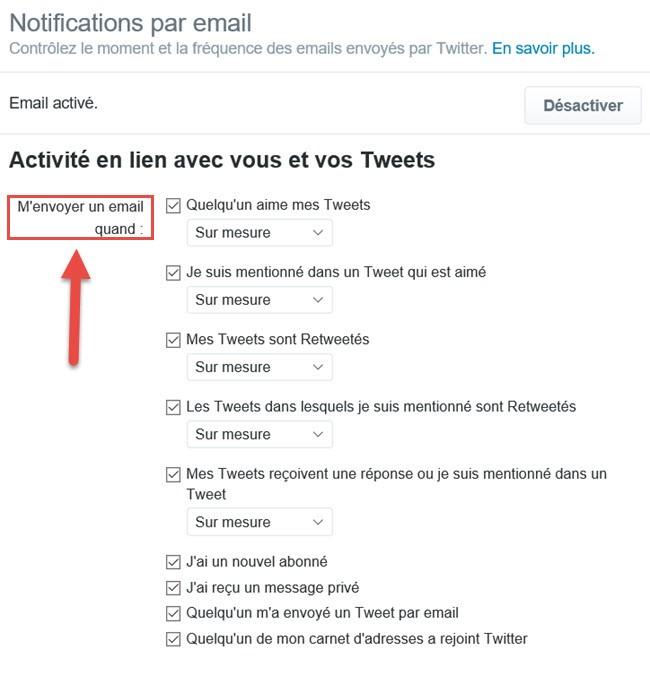Notififcation par email sur Twitter