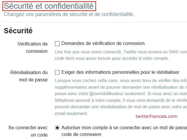 Configuration de la sécurité et confidentialité dans Twitter