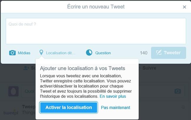 activer la localisation sur twitter